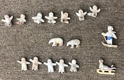 Lot 16 Antique Snow Baby Figurines Porcelain Bisque Seated Standing Bears Sled