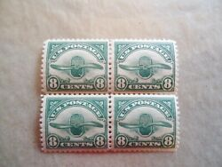 Us Air-mail Stamps Sc.c4 Airplane Radiator And Wooden Propeller Block Of 4