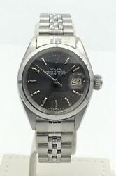 Ladies Rolex Date Oyster Perpetual Stainless Steel Grey Dial Watch 6919 Serviced