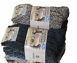 12 Pairs Mens Chunky Wool Boot Socks Hiking Thermal Warmth Winter Work Outdoor