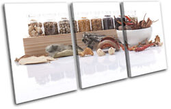 Spices Herbs Cooking Food Kitchen Treble Canvas Wall Art Picture Print