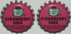 Soda Pop Bottle Caps Canada Dry Strawberry 2 Lot Of 2 Unused New Old Stock