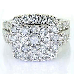 Ladies 3.33ct Diamond Double Halo Cluster Bridal Engagement Ring Solid 10k Gold