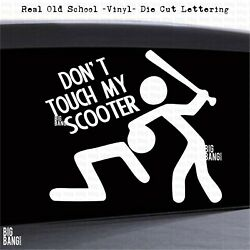 Vinyl Decal Sticker Dont Touch My Scooter Moped Helmet Warning Caution Bat Death