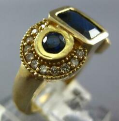 Large 2.66ct Diamond And Aaa Sapphire 14k Yellow Gold Emerald Cut And Round Fun Ring