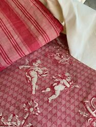 Upholstery / Pillow Pack Antique French Fabric Toile De Jouy Pink Tones Linen