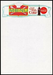 Vintage Menu Coca Cola Chefs Hat And Bottle Picturing Things Go Slogan Unused