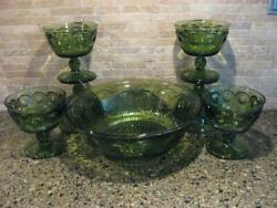 Vintage Green Glass 7 Pc. Sherberts And Serving Bowl Set - Manufacturer Unknown