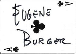 Eugene Burger Collection 3 Items Signed Playing Card And Magazine, Caricature