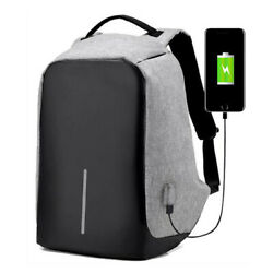 Anti theft Backpack Laptop Notebook Bag Travel School Bag +USB Charger Port Gray