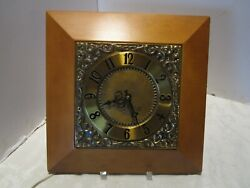 Vintage Ge Telechron Electric Wall Clock Brass And Wood Model 2s57 1960andrsquos 13 Andfrac12 T