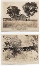 Two 1930s Reprint Photos Of 1892 Photos Of Cabin And Hideout Of California Outlaw