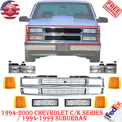 Chrome Grille + Reflector / Head / Signal Lights For 1995-1999 Chevy C/k Trucks