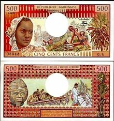 Gabon 500 Francs P2 1978 Timber Wood Carving Unc Rare Money Colony Bill Banknote