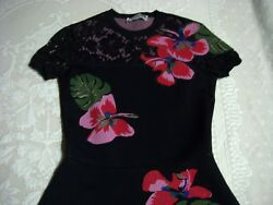 New Valentino Lace Inset Tropical Dream Knit Dress Size S 3980
