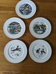 Set Of 5 Ll Bean House Of Seagram Plates W/ Waterfowl And Fish, Decor For Cabin