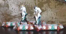 Pair Antique Royal Worcester Signed Hadley Majolica Ocean Sea Shell Dog Figures