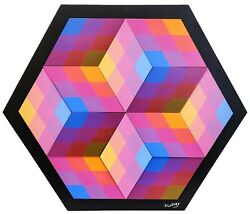 Stan Slutsky Cubed | Original Painted Wood And Magnets 30x35 | Abstract Op Art