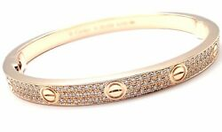 Authentic! Cartier Love 18k Rose Gold Diamond Paved Bangle Bracelet Size 19 Cert
