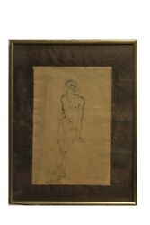 Enrico Colombotto Red 1925-2013 'studio Of Figure' Drawing A China/drawing