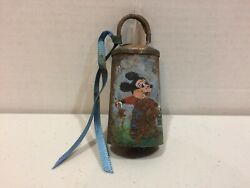 Vintage 1930and039s Original Disney Legend Hand Painted Bell - Mickey Mouse And Pail