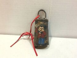 Vintage 1930and039s Original Disney Legend Hand Painted Bell - Mickey Mouse Straw Hat