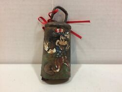 Vintage 1930and039s Original Disney Legend Hand Painted Bell - Mickey Mouse Patriotic
