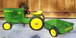 Vintage John Deere 4020 Diesel Pedal Tractor With Trailer/ Wagon By Ertl - Rare