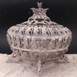 Antique Persian 90 Sterling Silver Figural Open Work Serving Bowl 20th Century