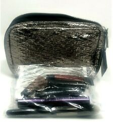 New Ulta Beauty 9 Piece Makeup Bag Gift Set GWP Pewter Bag $15.29