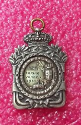 1910 Turin Venice Italian Rowing Championship Committee Silver Medal Fob Badge