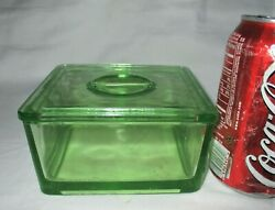 Antique Anchor Hocking Or Heisey Canary Green Vaseline Refrigerator Lid Box Bowl
