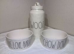 """New Rae Dunn By Magenta 8"""" Woof Dog Treat Jar Canister And 2 6""""x3"""" Bowl Set"""