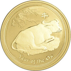 2009 P Australia Gold Lunar Series Ii Year Of The Ox 1 Oz 100 - Bu