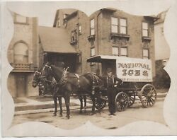 Large 1910 Photo Of National Ice Cold Storage Delivery Wagon San Francisco Ca