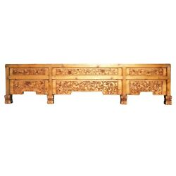 Chinese Vintage Dimensional Relief Floral Carving Wood Wall Art Cs1095