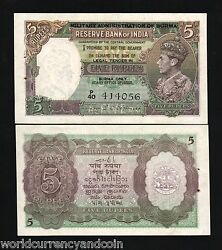 Burma India 5 Rupees P26 1945 King George Vi Tiger Unc Rare Gb Uk Currency Note