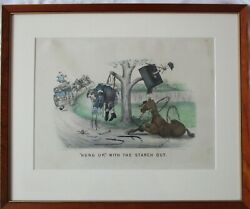 Currier And Ives Lithograph Hung Up With The Starch Out Framed Fine Condition