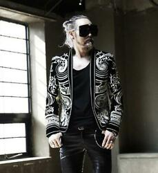 Luxury Mens Military Embroidery Coat Show Stage Singer Nightclub Party Jacket Sz
