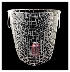 Vintage Large Woven Wire Round Bottom Basket 16 X 15.5 Nautical Look Laundry