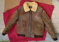 vintage US army military aviation leather flight jacket WILKER B-12