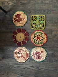 6 Vintage Trivet Hot Pads Pot Holders Wood Wooden Beaded And Rattan