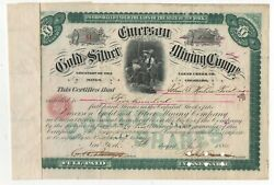 1880 Stock 500 Shares In Emerson Gold And Silver Mining Co Clear Creek Colorado
