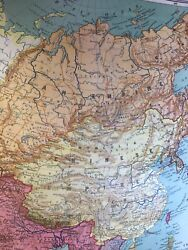 Vintage Over One Hundred Year Old Europe W And A K Johnston School Pull Down Map