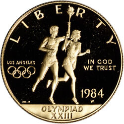 1984-w Us Gold 10 Olympic Commemorative Proof - Coin In Capsule