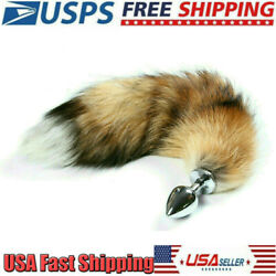 Funny Beginner Fox Faux Tail Anal Plug Butt Stopper Stainless Steel Cosplay Toy