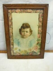 Antique Victorian Die-cut Embossed Child Print Floral Picture Ornate