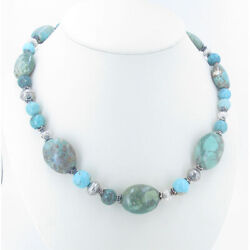 925 Sterling Silver Mixed Green Kingman Turquoise High Grade Nugget Necklace