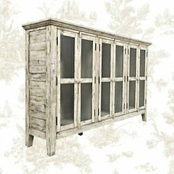 Eau Claire 70 Inch Wide Acacia Wood Sideboard Weathered Distressed Style