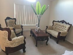 3 Piece Tan Indonesian Wood Rolled Arm Living/ Family Room Set